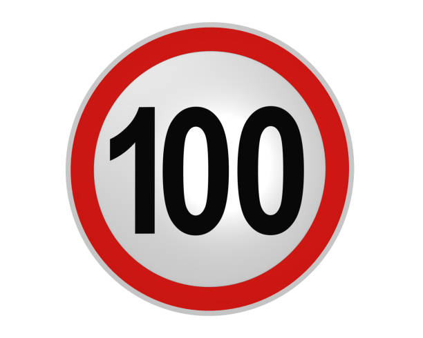 deutsches verkehrszeichen: geschwindigkeitsbegrenzung 100 km/h, vorderansicht - nummer 100 stock-fotos und bilder