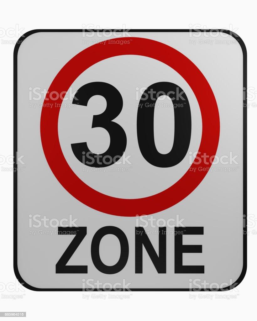 Deutsches Verkehrszeichen: Tempo 30 Zone Auf Weiß isoliert – Foto
