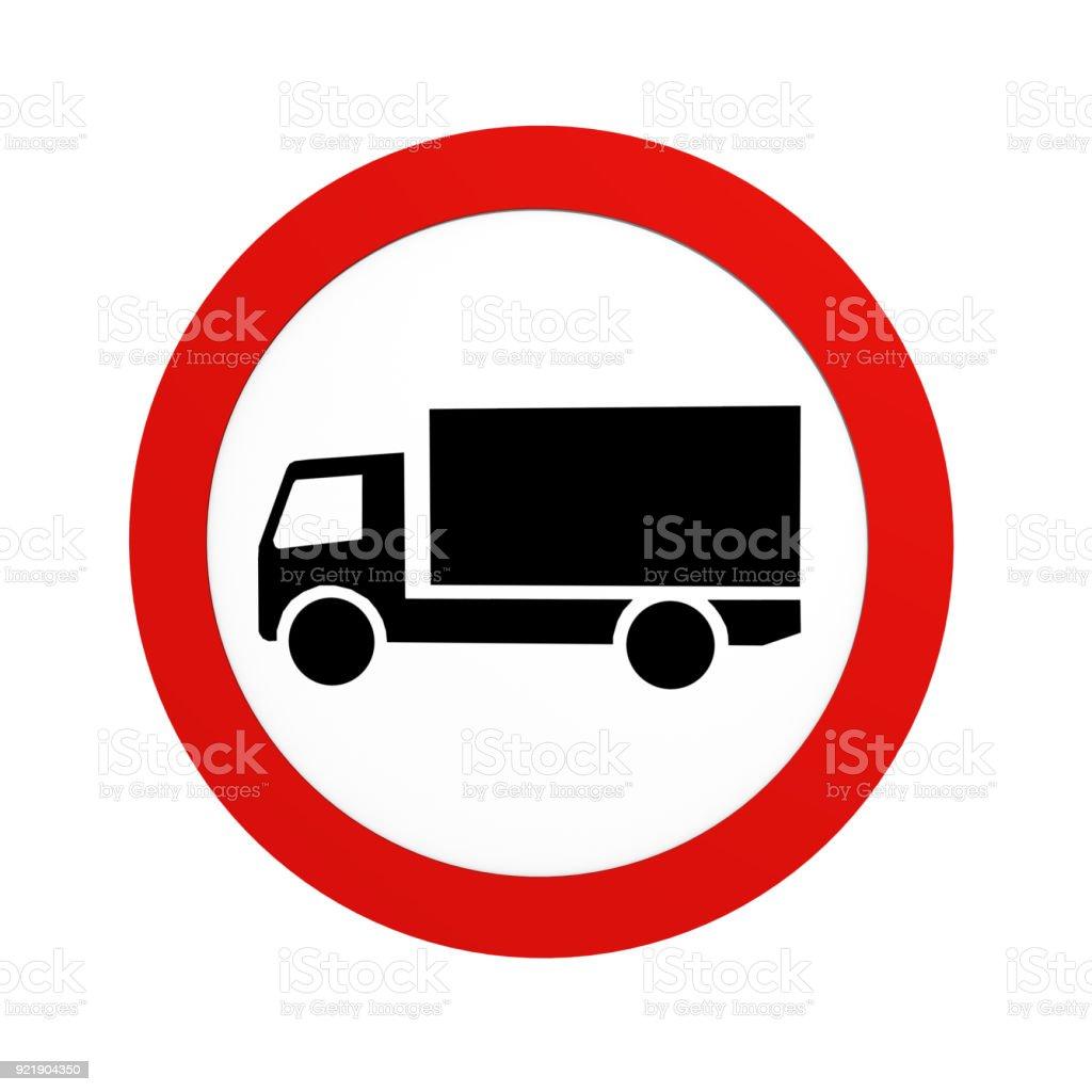 Deutsche Verkehrszeichen (Verkehrsverbote): Verbot Für LKW, in Vorderansicht, Auf Weiß Isoliert. – Foto