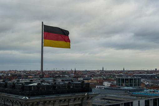 Deutschland`s Flag Fluttering Over Berlin