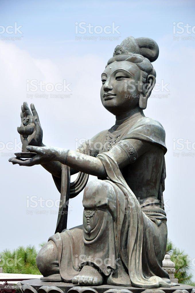 Devas Worship Giant Buddha at Hong Kong Temple royalty-free stock photo