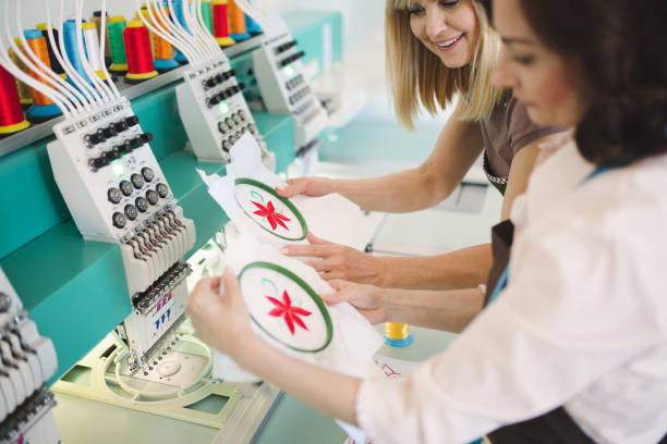 develop sewing techniques - embroidery machine stock pictures, royalty-free photos & images