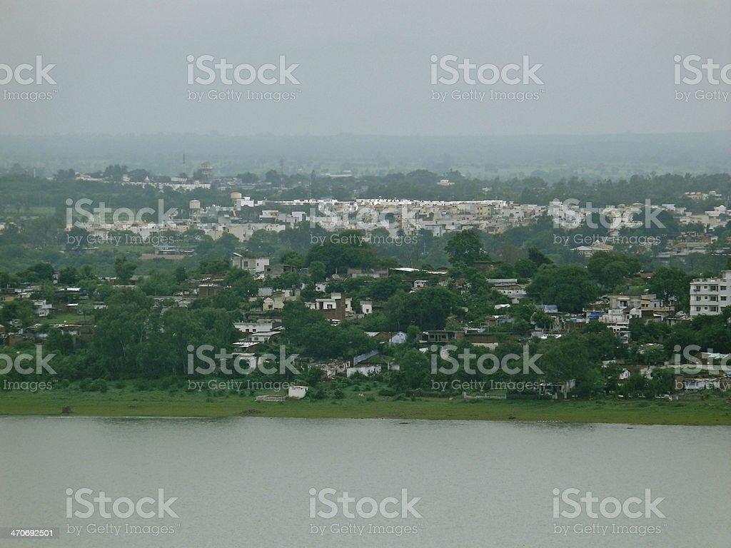 Developed part of city around Bada talab stock photo