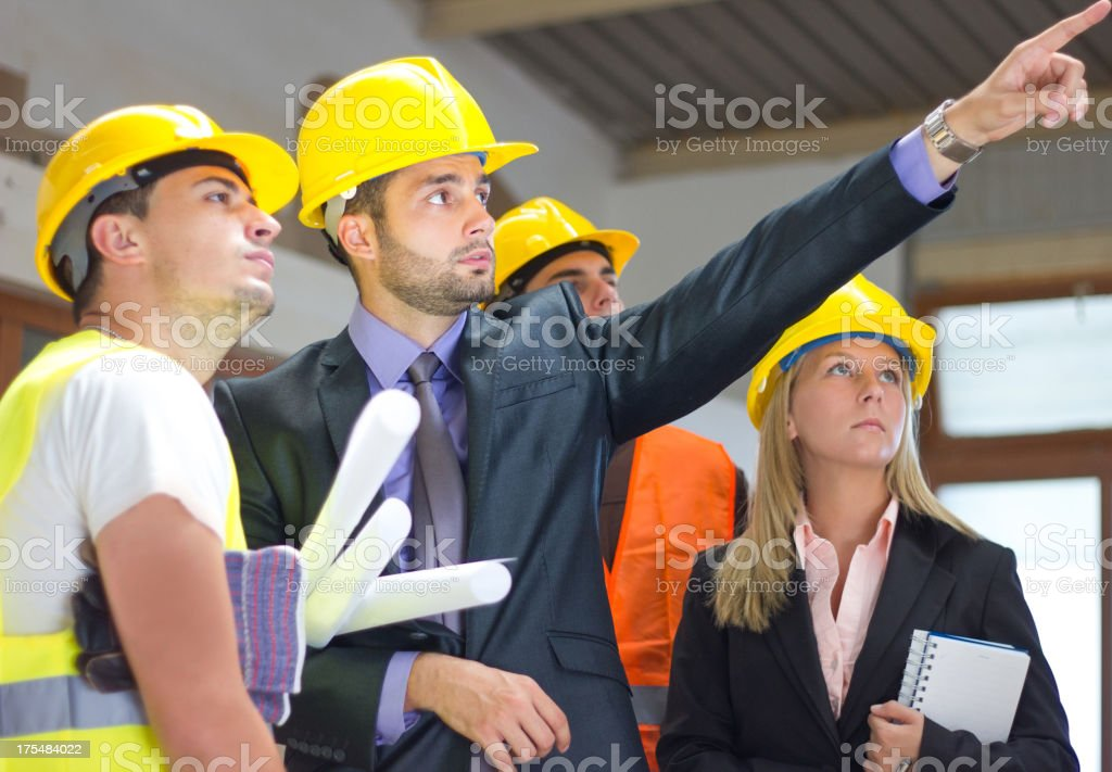 Developer and foreman on building. royalty-free stock photo