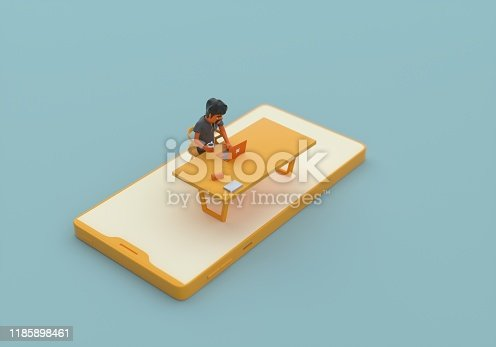995213208 istock photo Developer and smart phone 1185898461