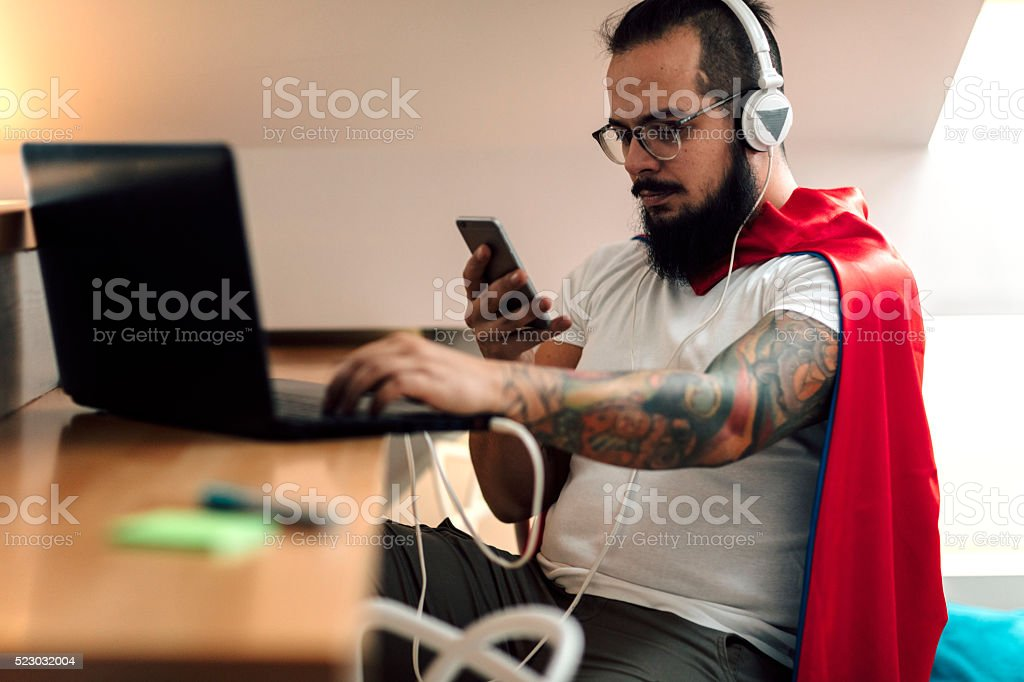 Developer Working From Home Office. stock photo