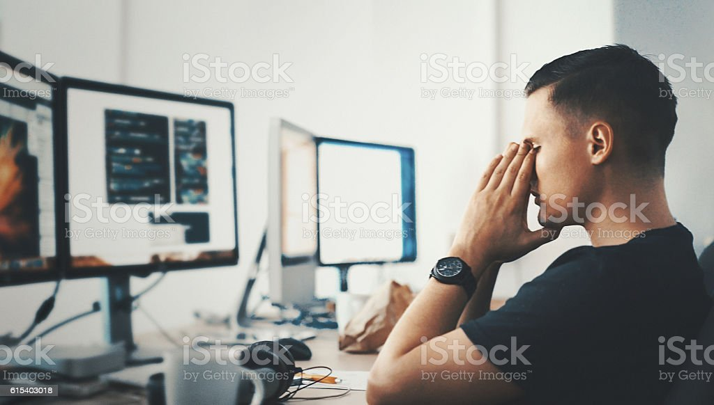 Developer's trouble. stock photo