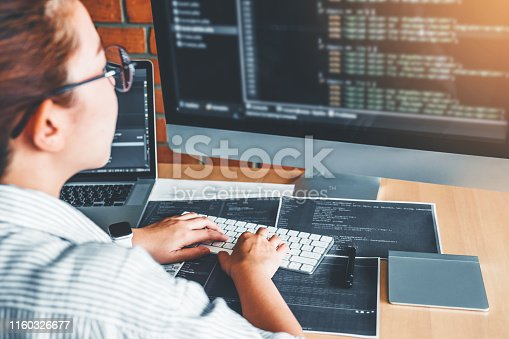 698430010 istock photo Developing Concentrated programmer reading computer codes Development Website design and coding technologies. 1160326677