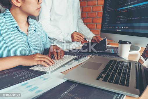 698430010 istock photo Developing Concentrated programmer reading computer codes Development Website design and coding technologies. 1234438174