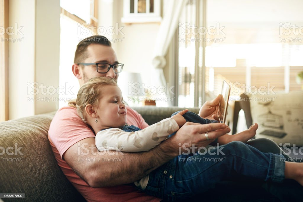 Developing her digital technology awareness royalty-free stock photo