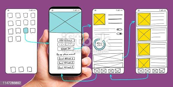 istock Developing mobile app UI 1147285852