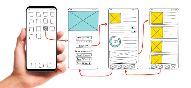 Developing mobile app UI UI development. Male hand holding smartphone with wireframed user interface screen prototypes of a mobile application on white background. website wireframe stock pictures, royalty-free photos & images