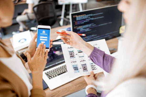 Developing mobile application stock photo