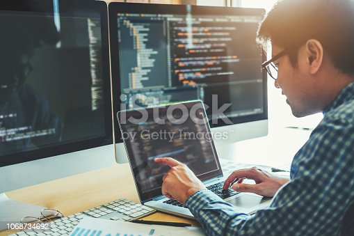 518433812istockphoto Developing programmer Development Website design and coding technologies working in software company office 1068734692