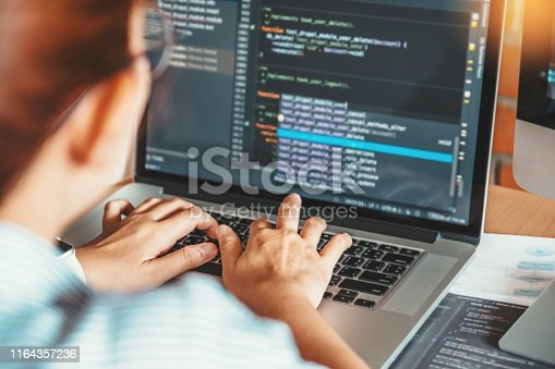 698430010 istock photo Developing programmer reading computer codes Development Website design and coding technologies. 1164357236