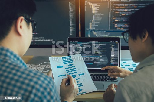 istock Developing programming and coding technologies working in a software engineers developing applications together in office. 1155835399