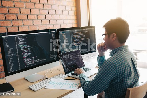 istock Developing programming and coding technology working in a software develop company office. 1135078783