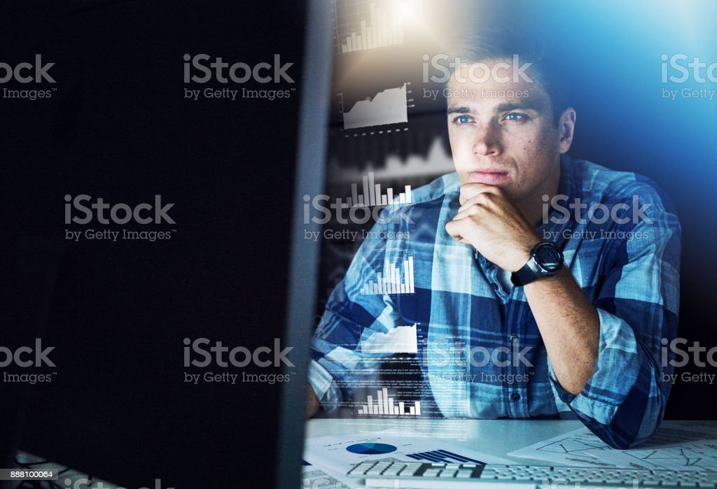 Developing software that will change the world stock photo