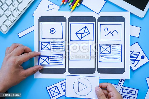 1182469817 istock photo Developing wireframe sketch layout design mockup on smartphone,tablet screen. 1133306462