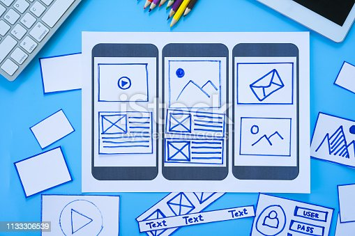 1182469817 istock photo Developing wireframe sketch layout design mockup on smartphone,tablet screen. 1133306539