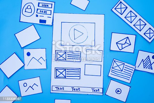 1182469817 istock photo Developing wireframe sketch layout design mockup on smartphone,tablet screen. 1133306597
