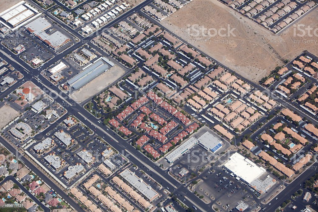 Development: Aerial View of Redential and Business Areas stock photo