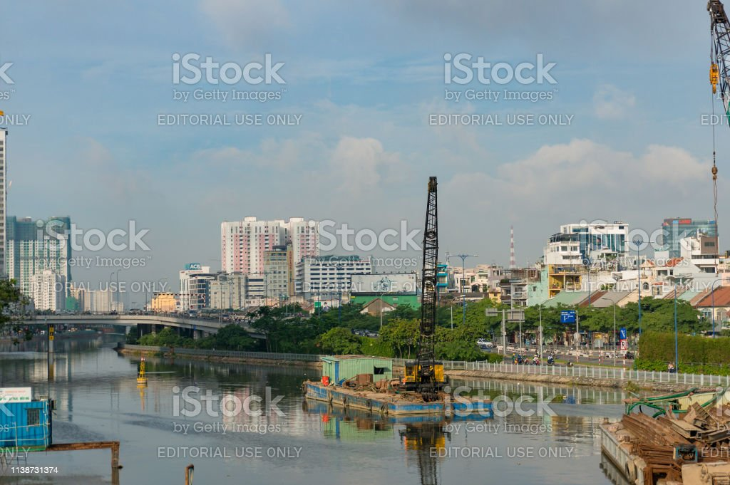 Development and construction in Ho CHi Minh City stock photo