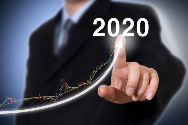 Development and growth 2020 year concept. Businessman new year concept. stock photo