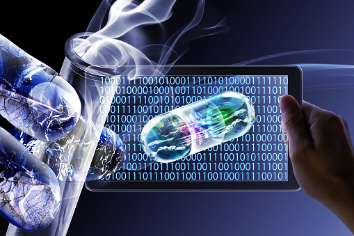 istock Development and research of new drugs by artificial intelligent robots 1094395912