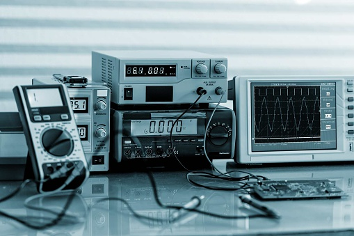 Development Of Electronic Devices In The Modern Electronics Labo Stock Photo - Download Image