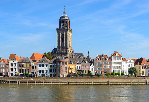 Deventer city at the river IJssel in The Netherlands stock photo