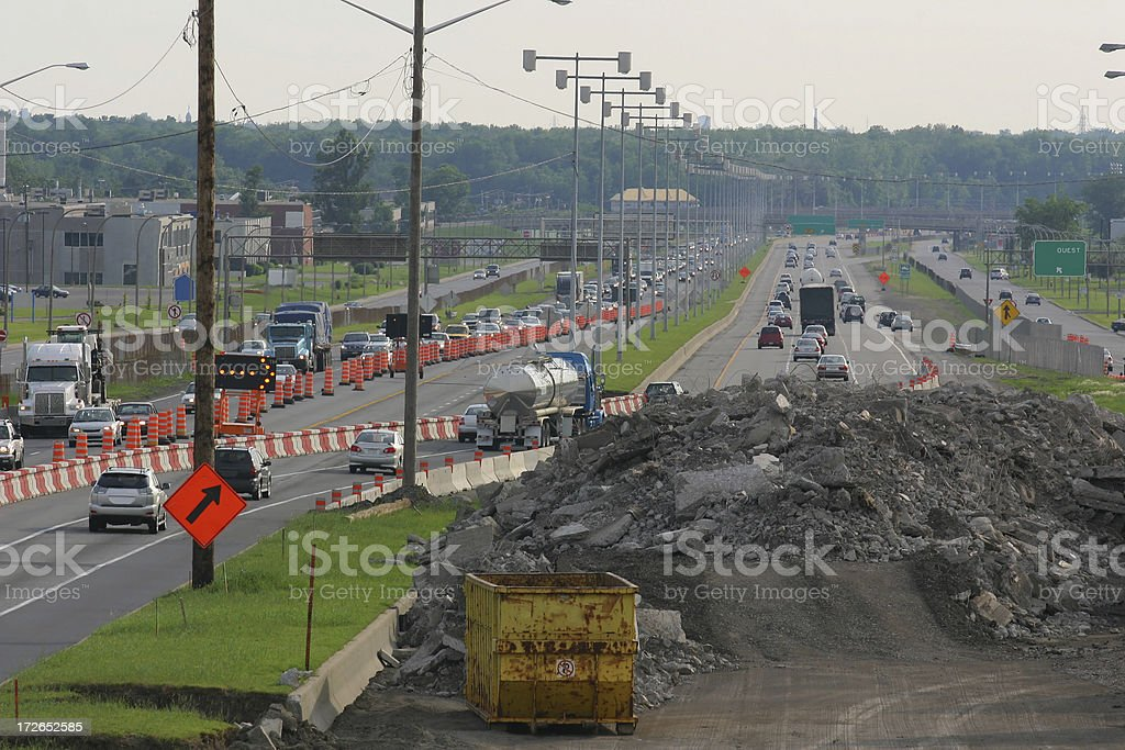 Deviated highway under repair royalty-free stock photo