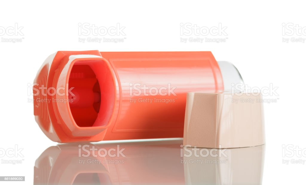 Device for inhalation with a dispenser isolated stock photo