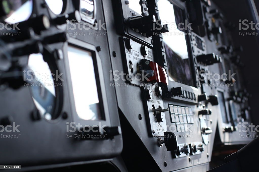 device in the pilot cockpit stock photo