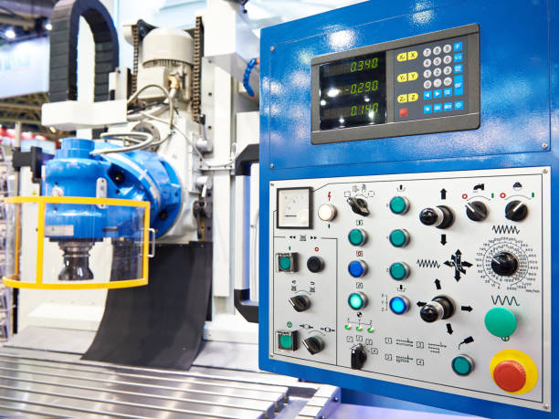 Device of digital indication for industrial machine stock photo