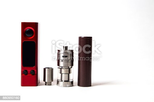 880947556 istock photo devices and accessories for vape and e-cigarette isolated on the white background with copyspace 880950160