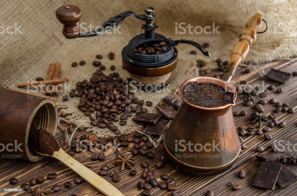 Devices and ingredients for making coffee stock photo