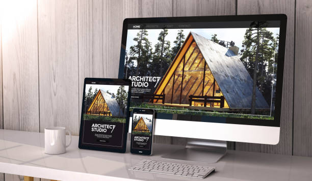 devices responsive on workspace architect website design Digital generated devices on desktop, responsive architect website design on screen. All screen graphics are made up. 3d rendering. website stock pictures, royalty-free photos & images