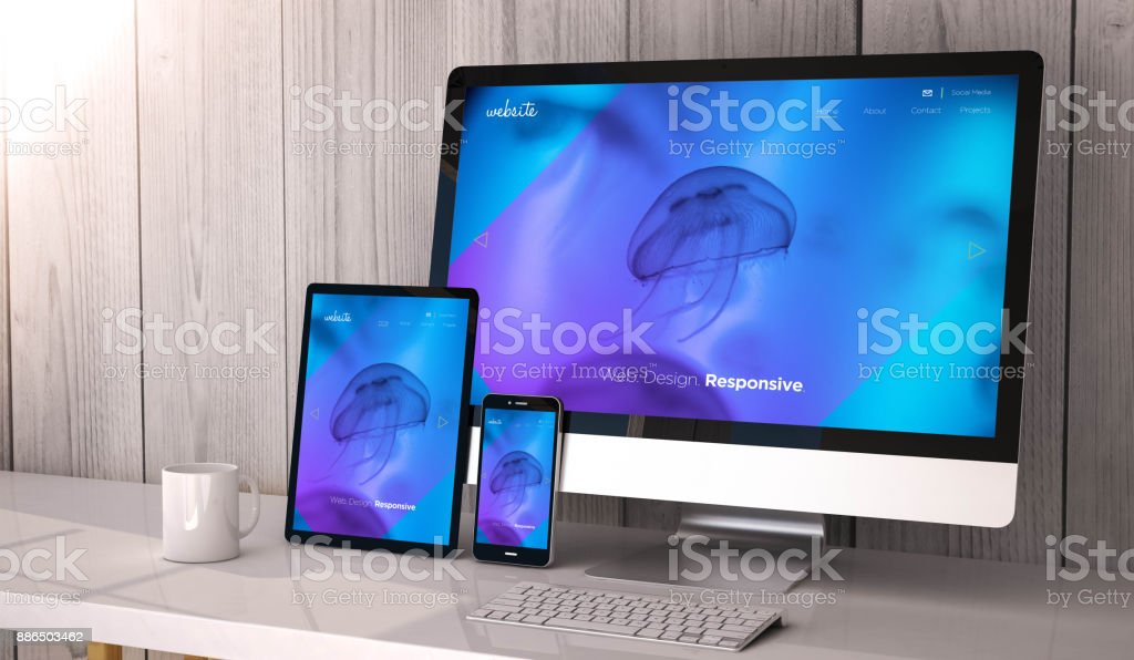 Geräte reagieren auf Arbeitsbereich coole Websitedesign – Foto