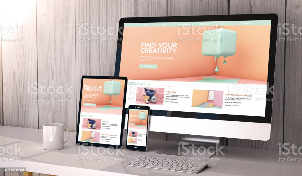 devices responsive on workspace creativity website graphic design Digital generated devices on desktop, responsive creativity graphic design on screen. All screen graphics are made up. 3d rendering. Backgrounds Stock Photo