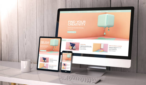 geräte reagieren auf arbeitsbereich kreativität webseite grafikdesign - internetseite stock-fotos und bilder