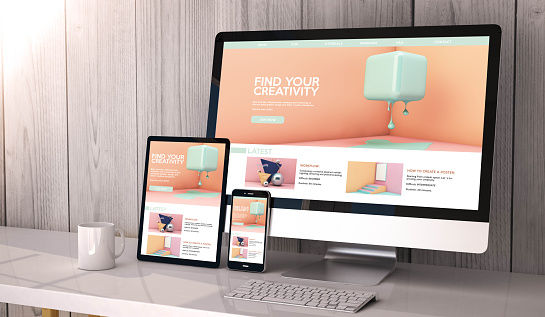 Devices Responsive On Workspace Creativity Website Graphic Design Stock Photo - Download Image Now