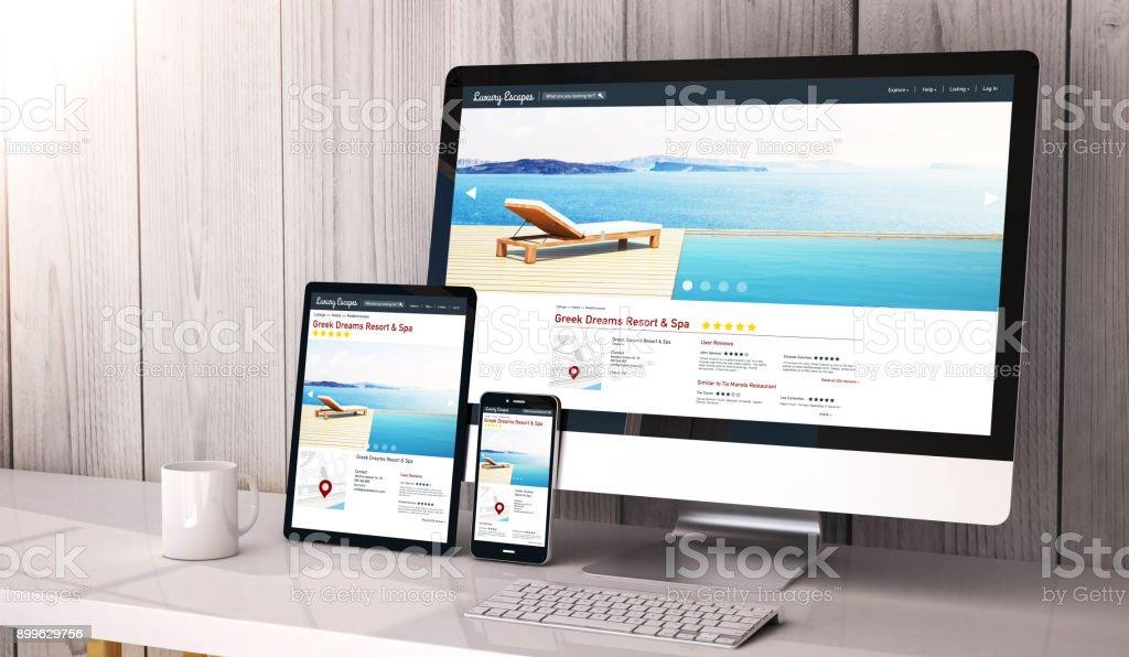 Geräte reagieren auf Luxus-Arbeitsbereich entkommt Webdesign – Foto