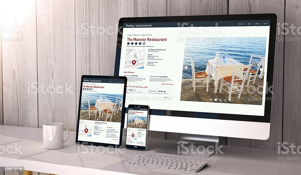 devices responsive on workspace online directory online stock photo