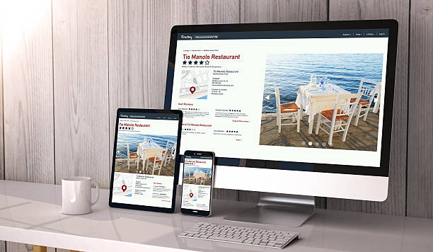 devices responsive on workspace online directory online - web page stock photos and pictures