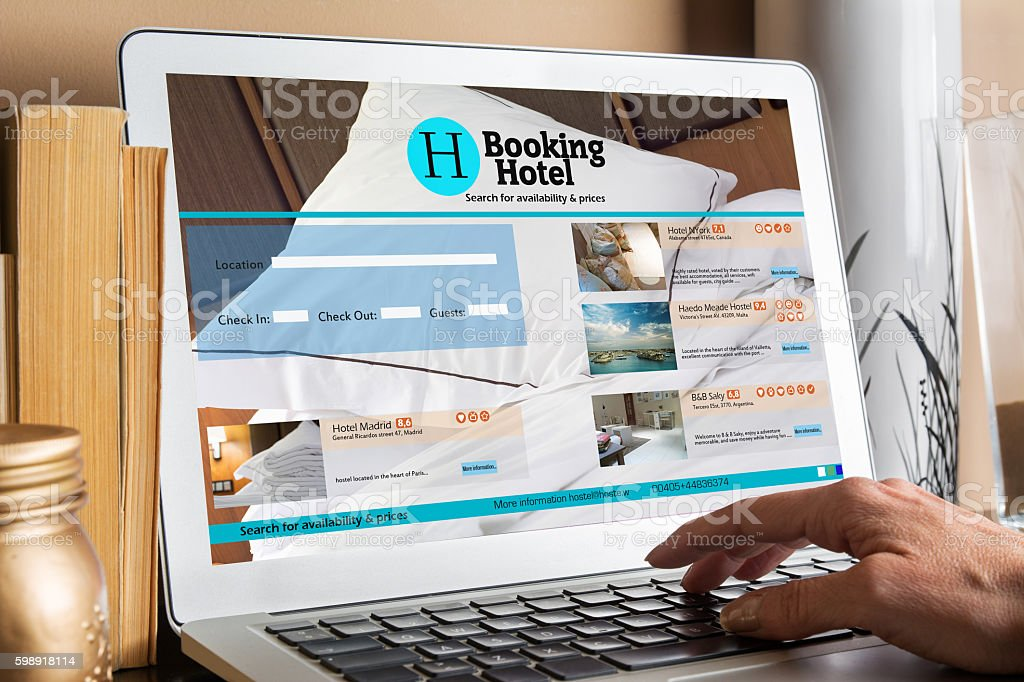 Devices with responsive booking room website stock photo