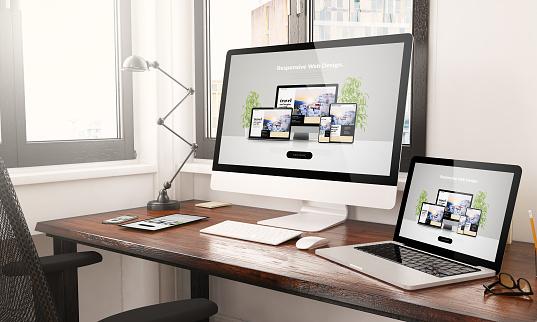 devices with responsive web design desktop 3d rendering