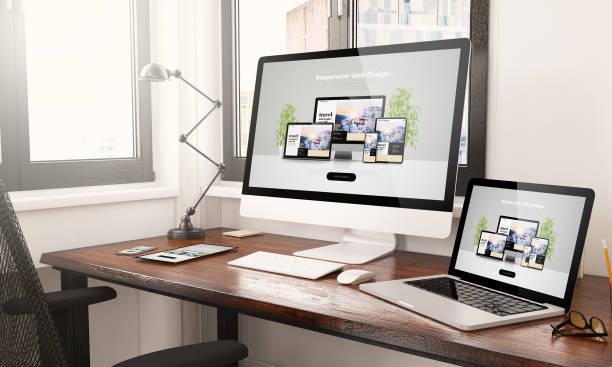 devices with responsive web design desktop 3d rendering stock photo