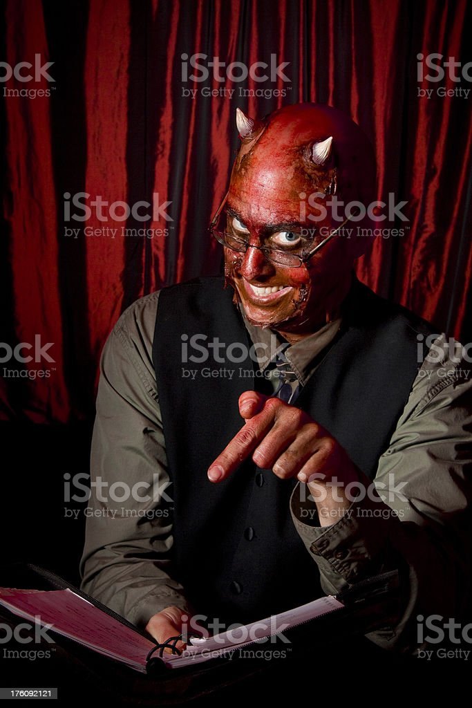 Devil Businessman with Contract royalty-free stock photo