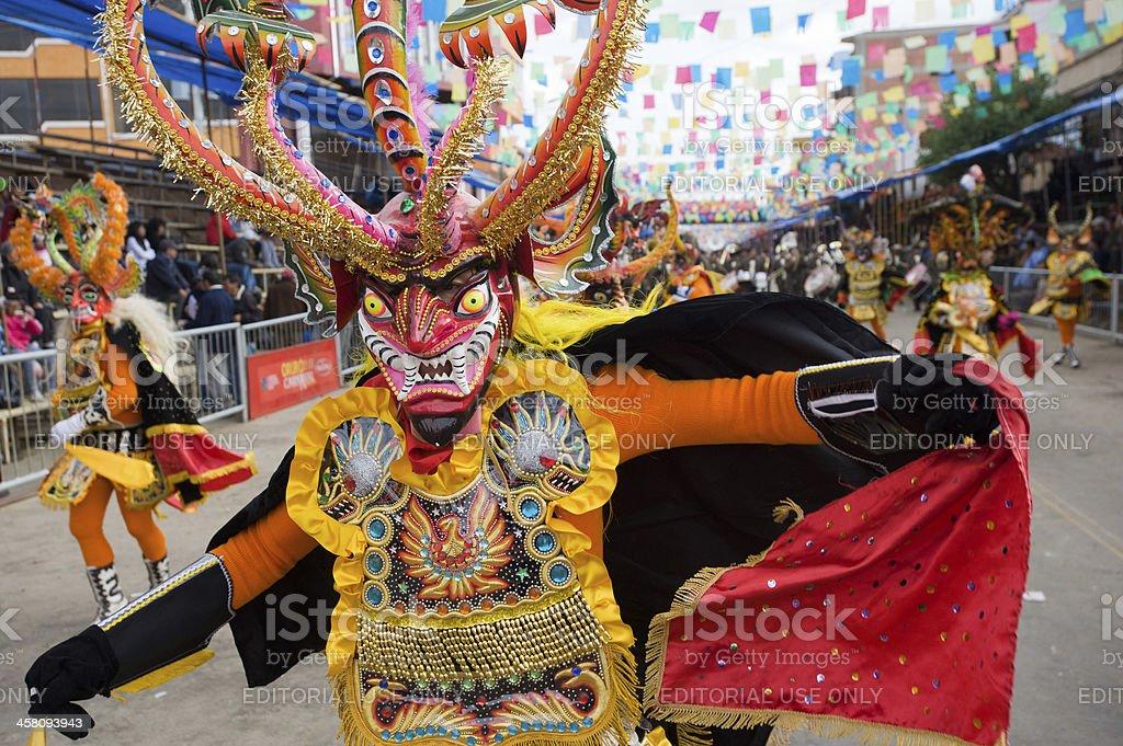 Devil Dancer at Oruro Carnival in Bolivia stock photo